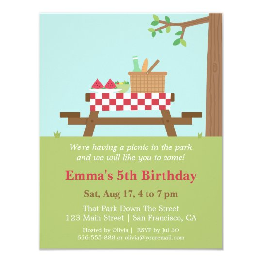 Marvelous Picnic In The Park Birthday Party Invitations