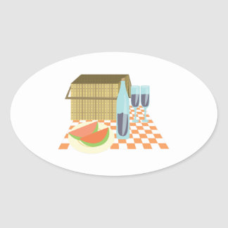 Picnic Lunch Oval Sticker