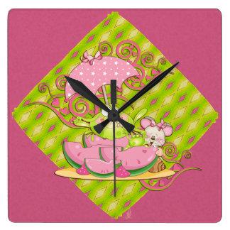 Picnic Pals Frog & Mouse Square Wall Clock