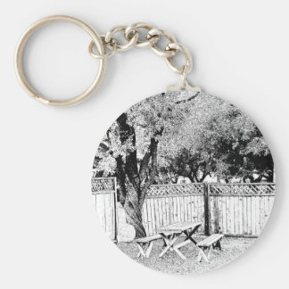 Picnic Table at the Campground Basic Round Button Keychain