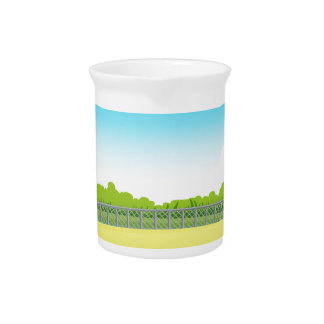 Picnic table in the park beverage pitcher
