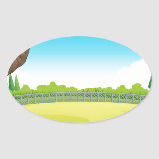 Picnic table in the park oval sticker