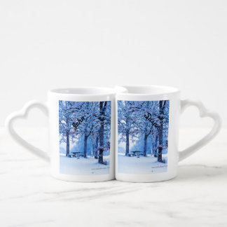 Picnic Table in Winter Couples' Coffee Mug Set