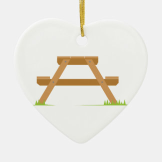 Picnic Table Double-Sided Heart Ceramic Christmas Ornament