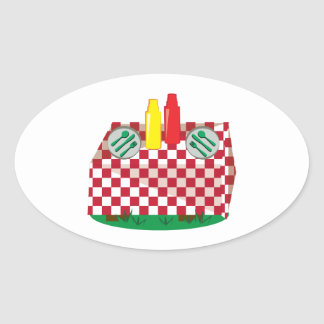 Picnic Table Oval Sticker