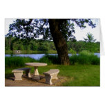Picnic table summer lunch meeting near the river greeting card