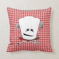 Picnic Table w/Chef Hat with BBQ Tools Throw Pillow