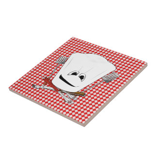 Picnic Table w/Chef Hat with BBQ Tools Ceramic Tiles