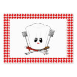 Picnic Table w/Female Chef Hat & BBQ Tools Business Card Template