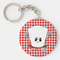 Picnic Table w/Female Chef Hat & BBQ Tools Keychain