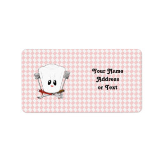 Picnic Table w/Female Chef Hat & BBQ Tools Custom Address Label