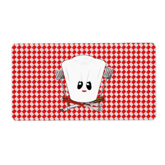 Picnic Table w/Female Chef Hat & BBQ Tools Personalized Shipping Labels
