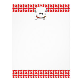 Picnic Table w/Female Chef Hat & BBQ Tools Letterhead