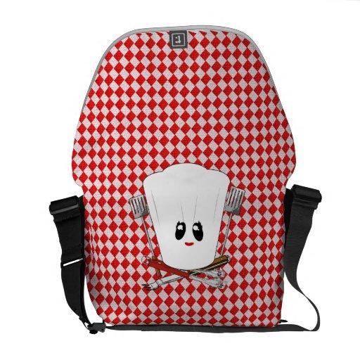 Picnic Table w/Female Chef Hat & BBQ Tools Messenger Bag