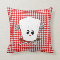 Picnic Table w/Female Chef Hat & BBQ Tools Throw Pillow