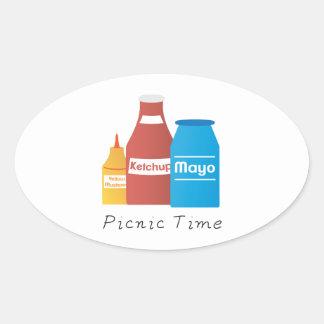 Picnic Time Oval Sticker