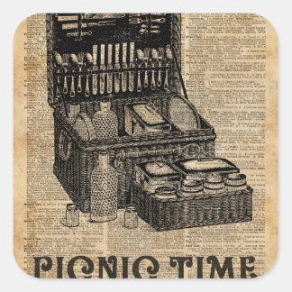 Picnic Time Vintage Illustration Dictionary Art Square Sticker