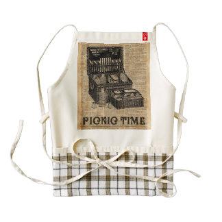Picnic Time Vintage Illustration Dictionary Art Zazzle HEART Apron