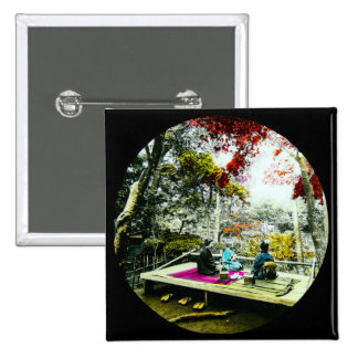 Picnic Under the Maple Leaves Vintage Old Japan Pinback Button