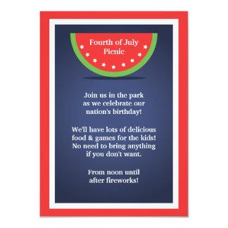 "Picnic Watermelon 4th of July Party Invitations 4.5"" X 6.25"" Invitation Card"