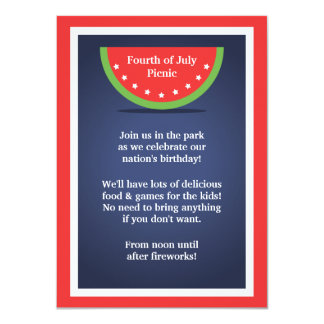 Picnic Watermelon 4th of July Party Invitations