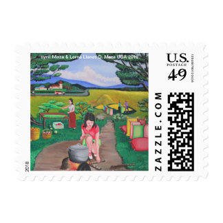 """""""Picnic with the Farmer"""" Postage/Stamp"""