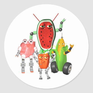 PicnicBots are funny food robots Classic Round Sticker