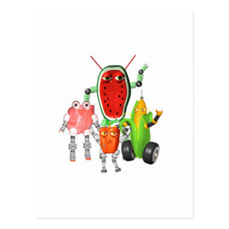 PicnicBots are funny food robots Postcard
