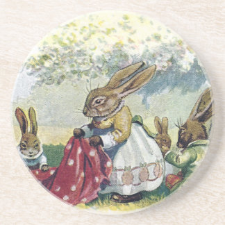 Picnicing Rabbits Drink Coaster