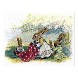 Picnicing Rabbits Postcard