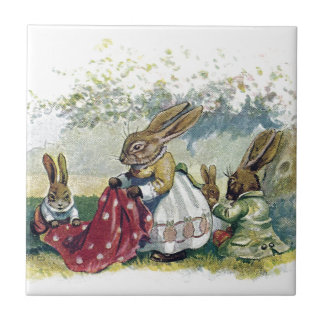 Picnicing Rabbits Small Square Tile