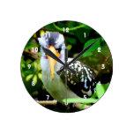 pico amarillo blanco negro del pájaro contra el ve relojes