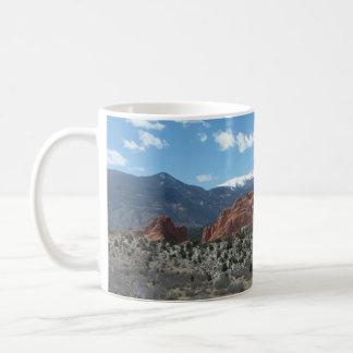 Pico de los lucios, jardín de dioses, Colorado Taza Básica Blanca