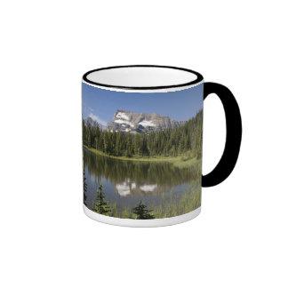 Pico de montaña reflejado en un lago taza