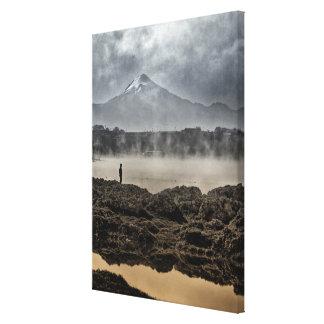 Pico De Orizaba From Achichic Lake In Puebla Canvas Print
