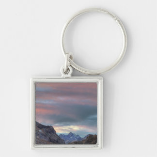 Pico del argonauta, puesta del sol llavero cuadrado plateado