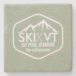 Pico rústico de Vermont Jay del esquí, Stowe, Posavasos De Piedra