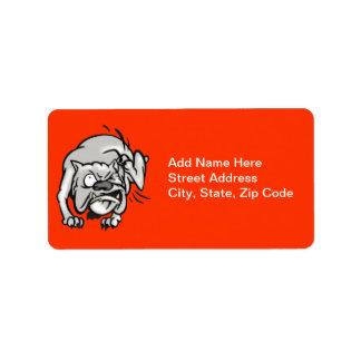 Picor del perro etiqueta de dirección