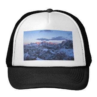 picos de montaña Sun-besados en invierno Gorras De Camionero