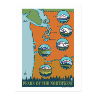 Picos del noroeste - 5 diversas montañas postal