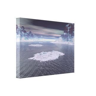 Picos nevados lona envuelta para galerías
