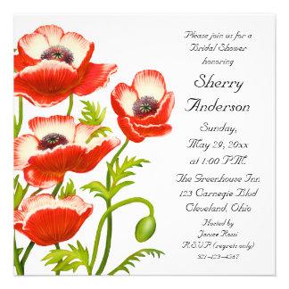 Picotee Red Poppy Flowers Bridal Shower Invitation