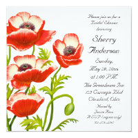 Picotee Red Poppy Flowers Bridal Shower Invitation