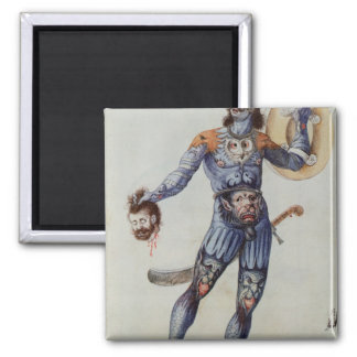 Pictish Man holding a Human Head 2 Inch Square Magnet