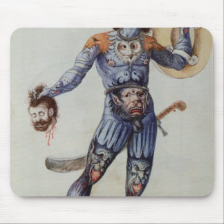 Pictish Man holding a Human Head Mouse Pad