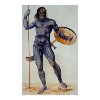 Pictish Man Holding a Shield Poster
