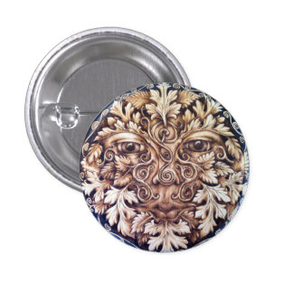 Pictish Spirals Green Man Button Pin
