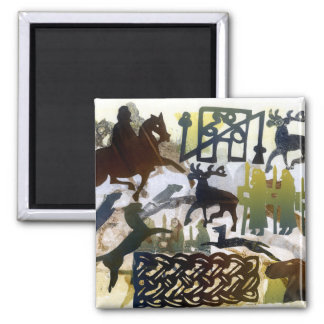 Pictish symbols and Lacing 2 Inch Square Magnet