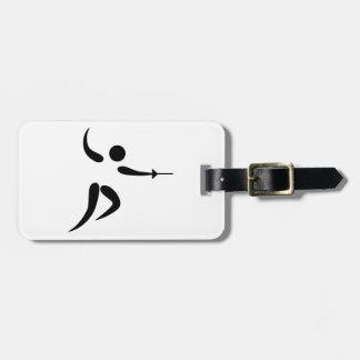 Pictograma de cercado competitivo y olímpico etiquetas para maletas