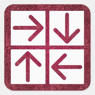 Pictograma de cuatro flechas pegatina cuadrada